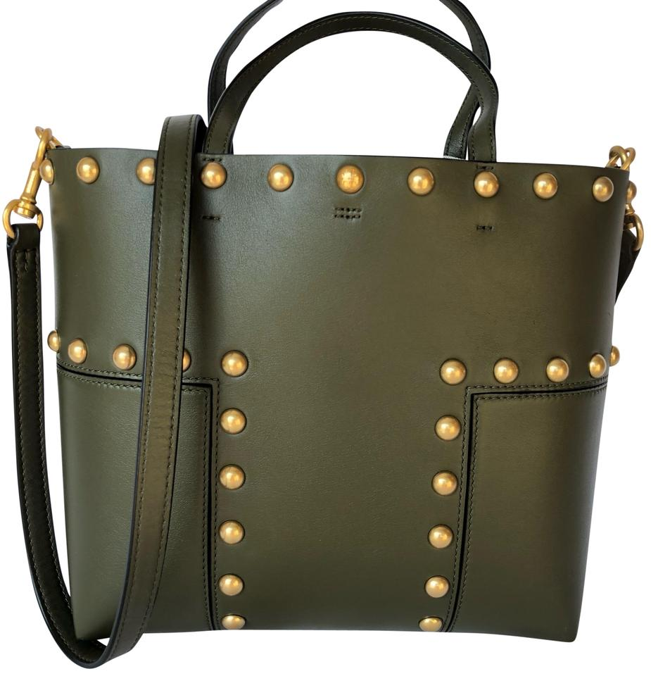 6afe10f95e8 Tory Burch Block-T T Stud Mini Green Leather Tote - Tradesy
