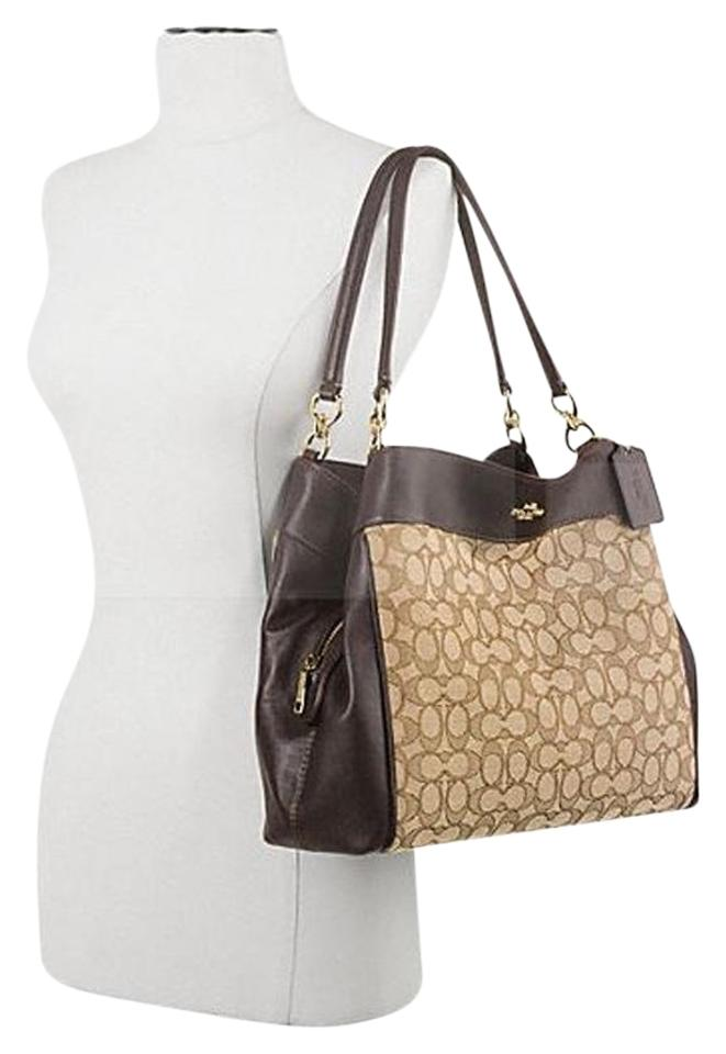 Coach Lexy Signature Khaki Brown Jacquard Leather Shoulder Bag 56 Off Retail