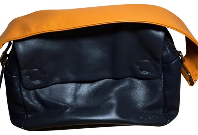 Item - Twin Pocket Black with Orange Handle and Lining Lambskin Leather Baguette
