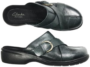 Clarks Leather Buckle Black Mules