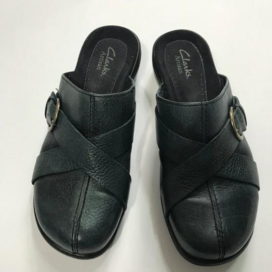 Clarks Leather Buckle Black Mules Image 7