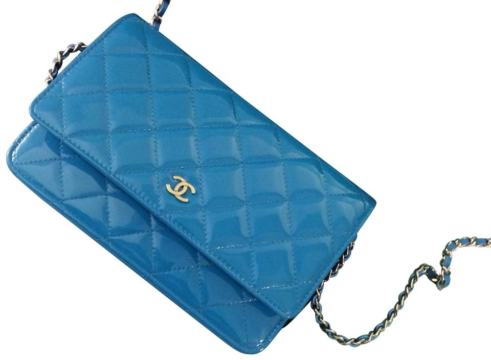 44358a1268b8 Chanel Wallet on Chain Woc Turquoise Blue Patent Leather Cross Body ...
