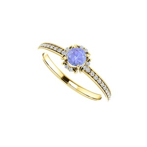 DesignByVeronica CZ Tanzanite Unique Style Halo Ring Yellow Gold Vermeil