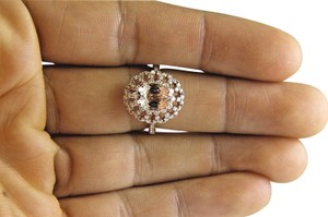 Other Oval Cut Pink Morganite Ladys Ring w/Diamond Halo 14k Rose Gold 2.71Ct