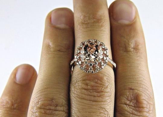 Other Oval Cut Pink Morganite Ladys Ring w/Diamond Halo 14k Rose Gold 2.71Ct Image 1