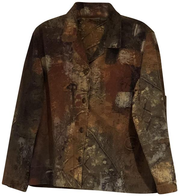 Item - Earth Tones Abstract Camoflauge Cotton Jacket Size 14 (L)