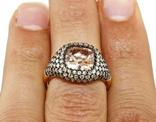 Other Cushion Cut Morganite & Diamond Cluster Cocktail Ring 14k RG 3.95Ct Image 4