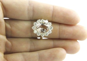 Other Oval Cut Pink Morganite Lady's Ring w/Diamond Halo 14k YG 5.75Ct