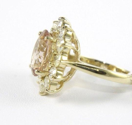Other Oval Cut Pink Morganite Lady's Ring w/Diamond Halo 14k YG 5.75Ct Image 1