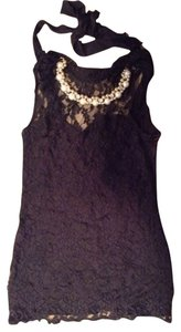 New Mode Evening Beading Party Black Lace Halter Halter Top