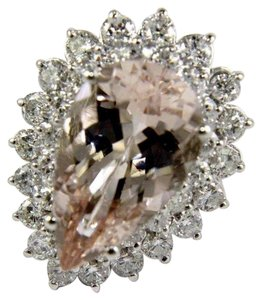 Other Pear Cut Pink Morganite & Diamond Solitaire Ring 14k WG 10.53Ct