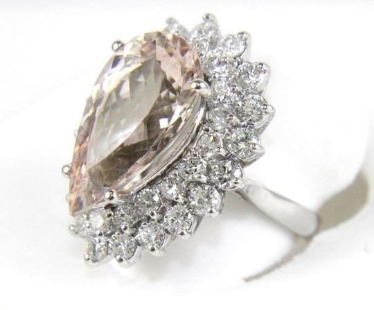 Other Pear Cut Pink Morganite & Diamond Solitaire Ring 14k WG 10.53Ct Image 1