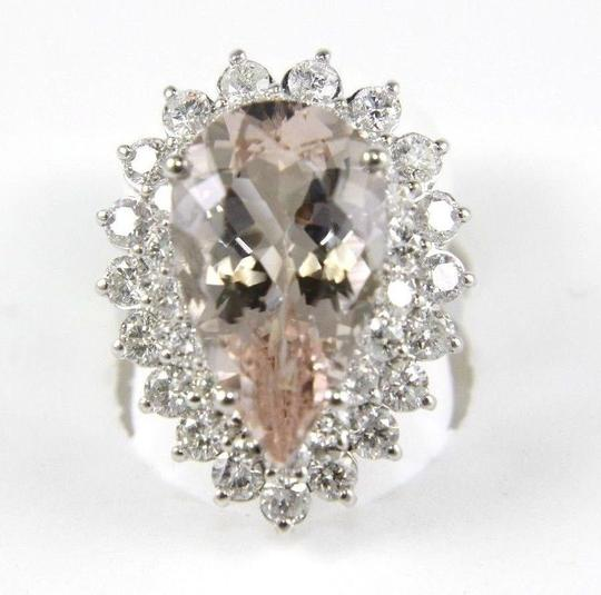 Other Pear Cut Pink Morganite & Diamond Solitaire Ring 14k WG 10.53Ct Image 3