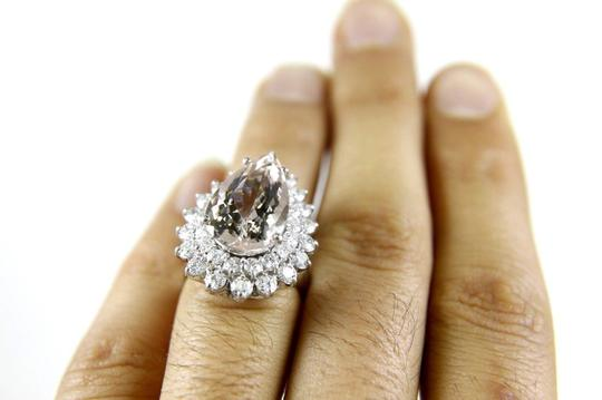 Other Pear Cut Pink Morganite & Diamond Solitaire Ring 14k WG 10.53Ct Image 4