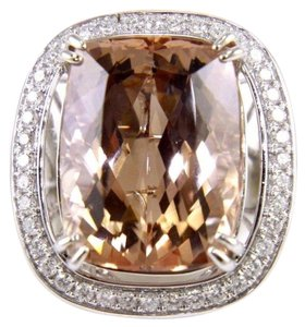 Other Huge Radiant Morganite & Diamond Cocktail Ring 14k WG 29.08Ct