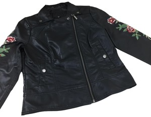 Odyn Motorcyclejacket Embroidered Fauxleather Motojacket black with colorful florals Leather Jacket