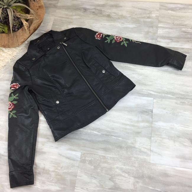 Odyn Motorcyclejacket Embroidered Fauxleather Motojacket black with colorful florals Leather Jacket Image 1