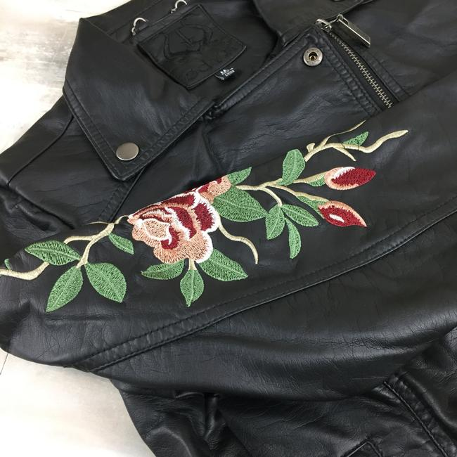 Odyn Motorcyclejacket Embroidered Fauxleather Motojacket black with colorful florals Leather Jacket Image 2