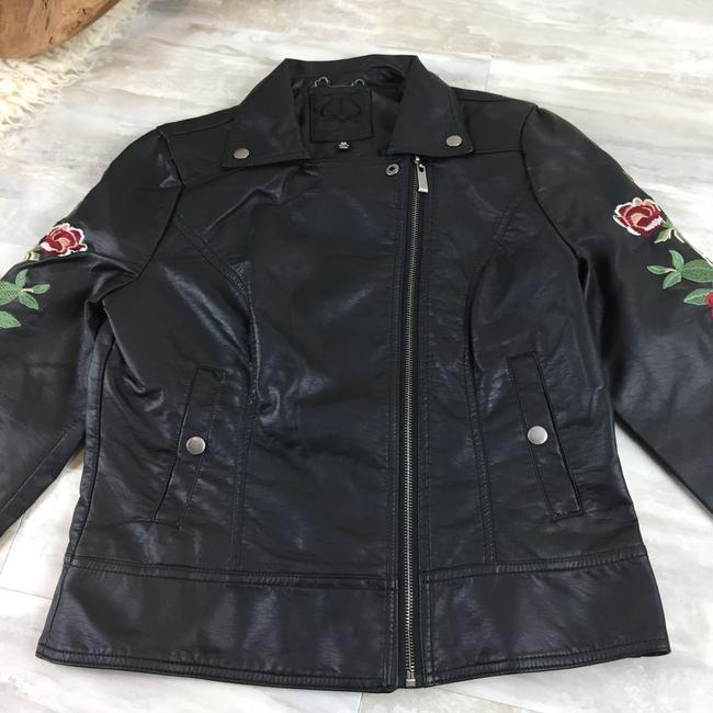 Odyn Motorcyclejacket Embroidered Fauxleather Motojacket black with colorful florals Leather Jacket Image 6