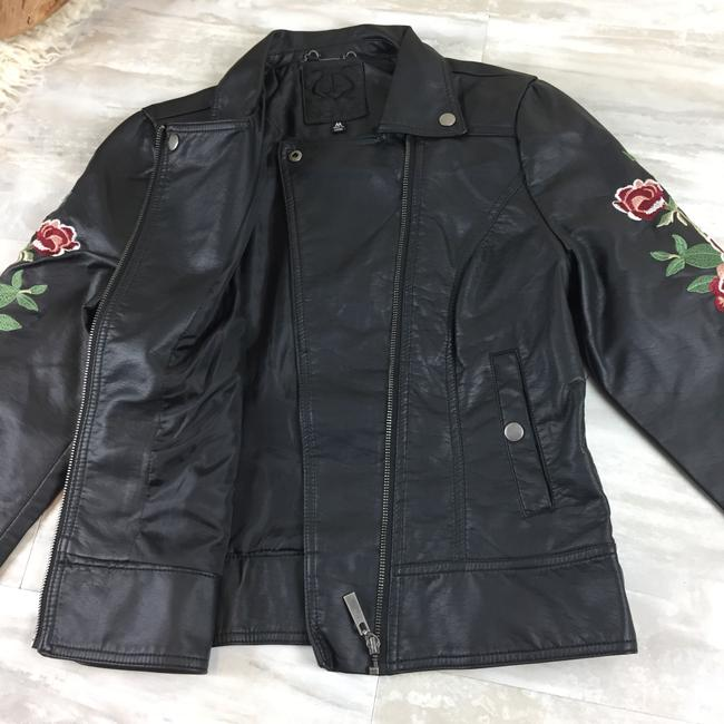 Odyn Motorcyclejacket Embroidered Fauxleather Motojacket black with colorful florals Leather Jacket Image 7