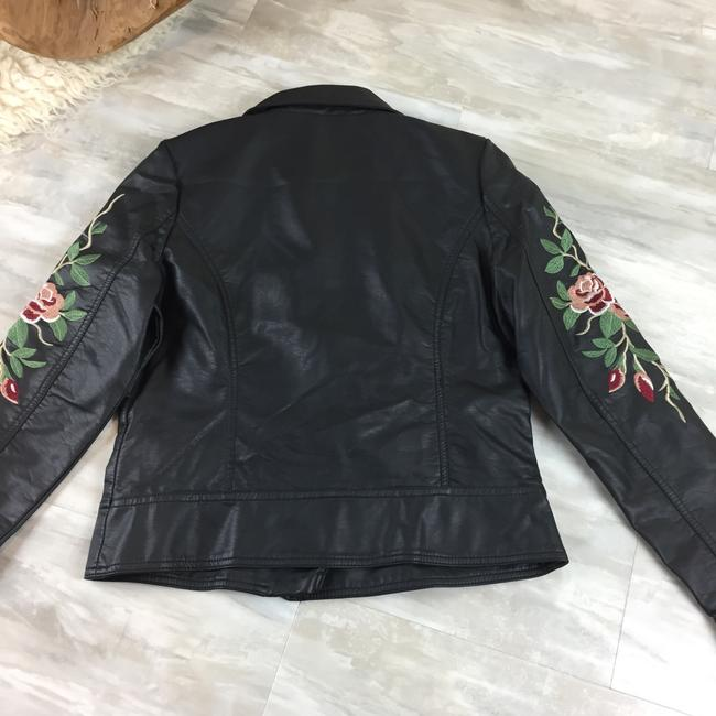 Odyn Motorcyclejacket Embroidered Fauxleather Motojacket black with colorful florals Leather Jacket Image 8