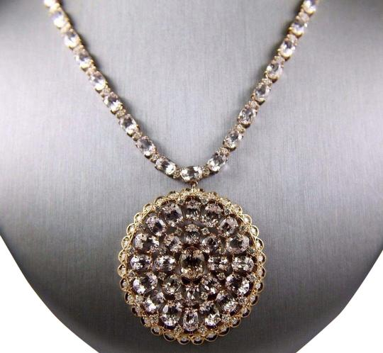 Preload https://img-static.tradesy.com/item/24142735/pink-and-rose-gold-round-morganite-cluster-pendant-wdiamond-links-14k-rg-6390ct-necklace-0-1-540-540.jpg