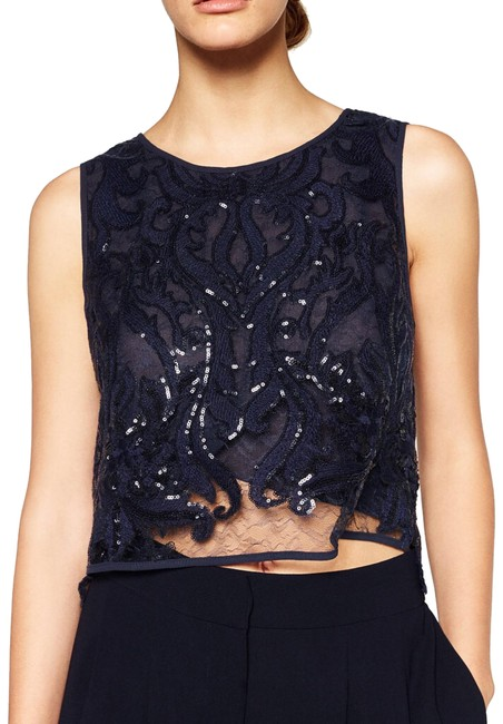 Preload https://img-static.tradesy.com/item/24142759/zara-lace-sequined-midnight-blue-blouse-size-4-s-0-1-650-650.jpg
