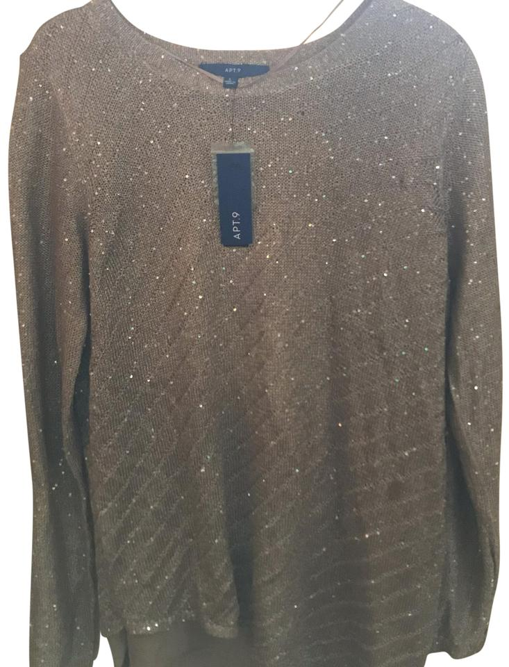 Apartment 9 Gold Asymmetrical Sparkle Holiday Sweater Blouse Size 12 (L)  37% off retail
