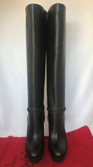 Christian Louboutin Pigalle Ankle Thigh High Over The Knee Black Boots Image 1