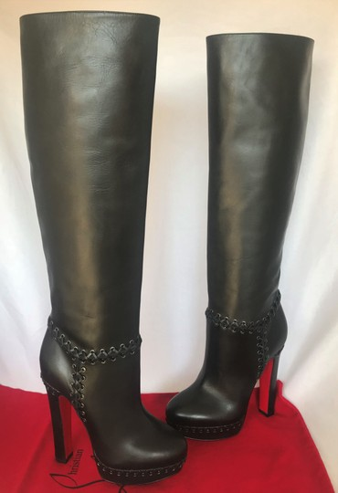 Christian Louboutin Pigalle Ankle Thigh High Over The Knee Black Boots Image 4
