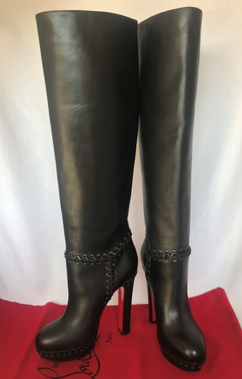 Christian Louboutin Pigalle Ankle Thigh High Over The Knee Black Boots Image 5
