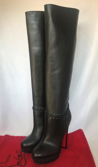 Christian Louboutin Pigalle Ankle Thigh High Over The Knee Black Boots Image 6