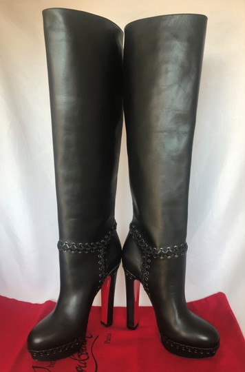 Christian Louboutin Pigalle Ankle Thigh High Over The Knee Black Boots Image 7
