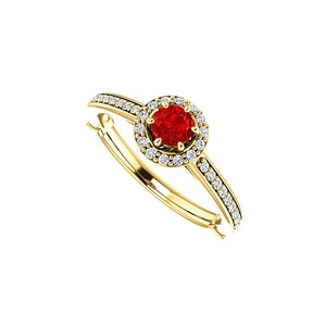 DesignByVeronica CZ Ruby Halo Ring 18K Yellow Gold Vermeil 0.75 CT TW