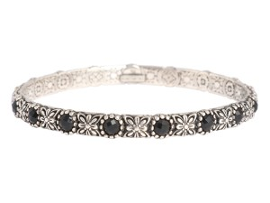 Konstantino Black Onyx and Sterling Silver Nykta Bangle Bracelet