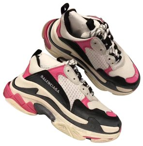 beb2b5322cf8 Balenciaga Pink Black White Colorblock Washed Triple S Sneakers with Logo  Sneakers