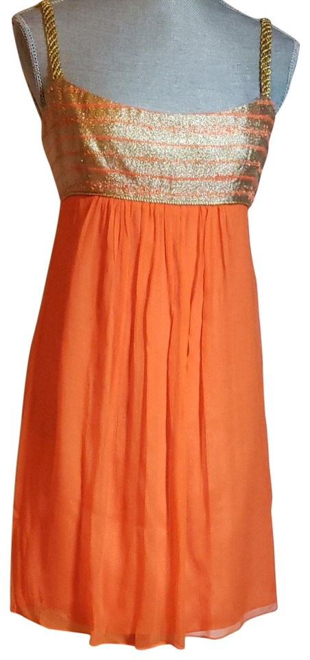 3aaef9693a58 MILLY Orange and Gold Short Casual Dress Size 6 (S) - Tradesy