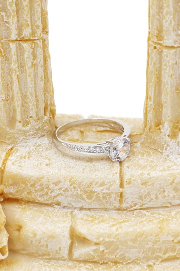 Ocean Fashion simple crystal silver ring Image 3