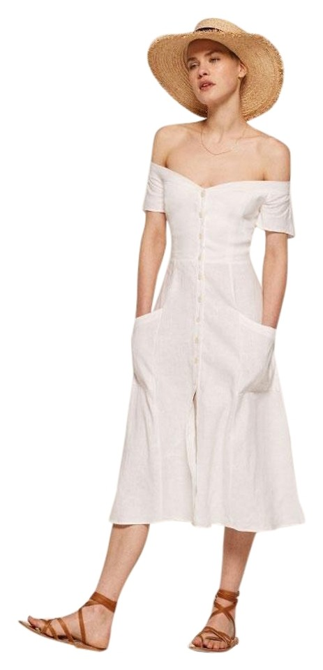 fb056d13d7 Reformation White Mariposa Off-shoulder Bardot Collar Neckline Casual Maxi  Dress