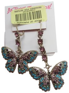 Betsey Johnson Betsey Johnson New Mismatch Blue Butterfly Earrings