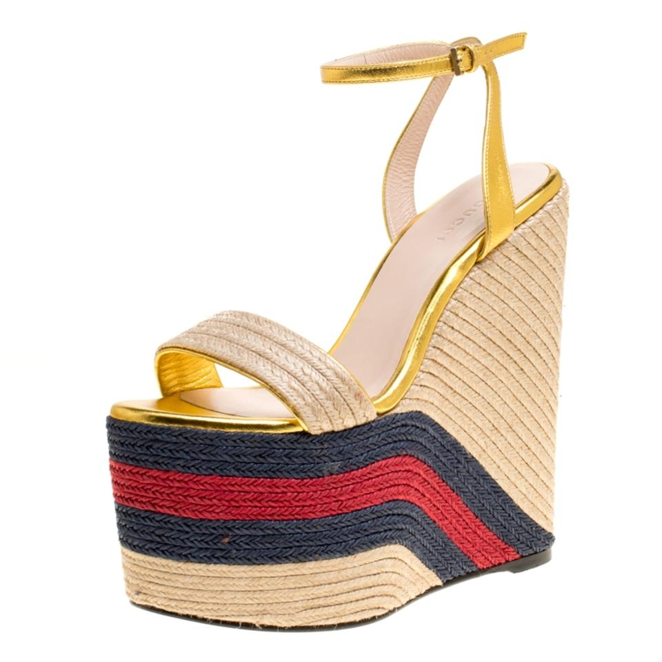 63fc77b6c3f5 Gucci Gold Metallic Leather Web Platform Ankle Strap Espadrille ...
