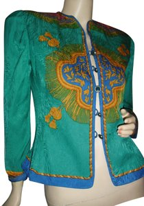 Adrianna Papell Like Versace Baroque Design Shapely Waistline Sunburst Design Top emerald green,gold,turquoise