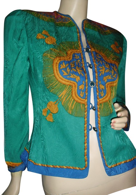 Preload https://img-static.tradesy.com/item/24143132/adrianna-papell-emerald-green-gold-turquoise-blazer-baroque-border-pri-blouse-size-os-0-3-650-650.jpg
