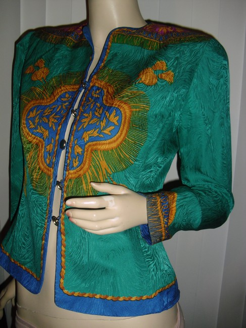 Adrianna Papell Like Versace Baroque Design Shapely Waistline Sunburst Design Top emerald green,gold,turquoise Image 1
