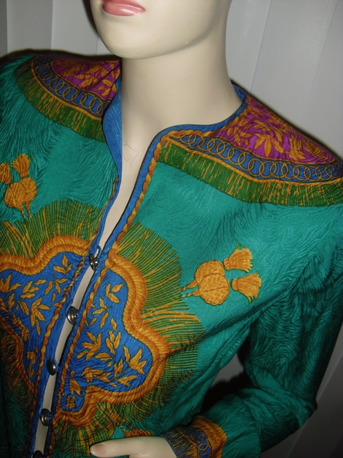 Adrianna Papell Like Versace Baroque Design Shapely Waistline Sunburst Design Top emerald green,gold,turquoise Image 2