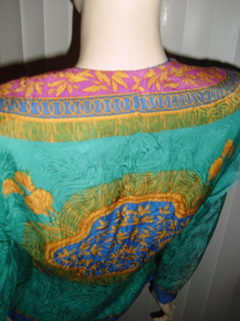 Adrianna Papell Like Versace Baroque Design Shapely Waistline Sunburst Design Top emerald green,gold,turquoise Image 3
