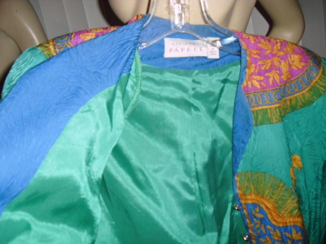 Adrianna Papell Like Versace Baroque Design Shapely Waistline Sunburst Design Top emerald green,gold,turquoise Image 5