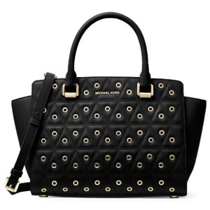 Michael Kors Stud Medium Saffiano Leather Satchel in Black
