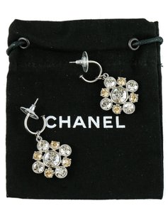 Chanel CC Logo Dangling Crystal Clusters Baroque Square Classic Earrings.