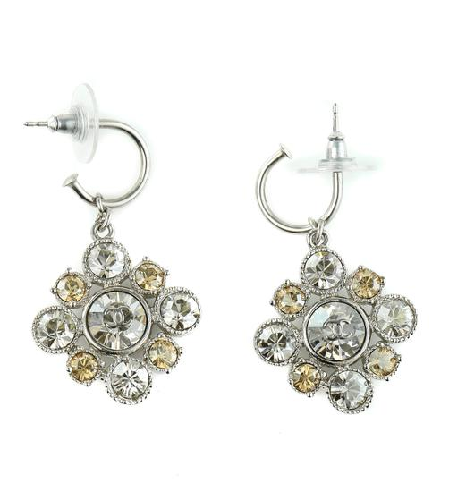 Chanel CC Logo Dangling Crystal Clusters Baroque Square Classic Earrings. Image 1